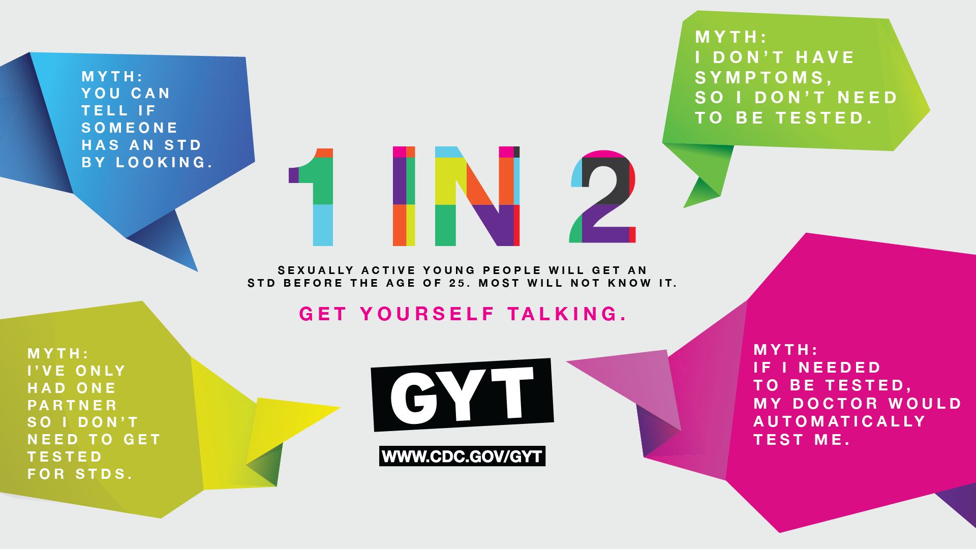 1 in 2 sexually active young people will get an STD before the age of 23. Most will not know it.  Get yourself talking.