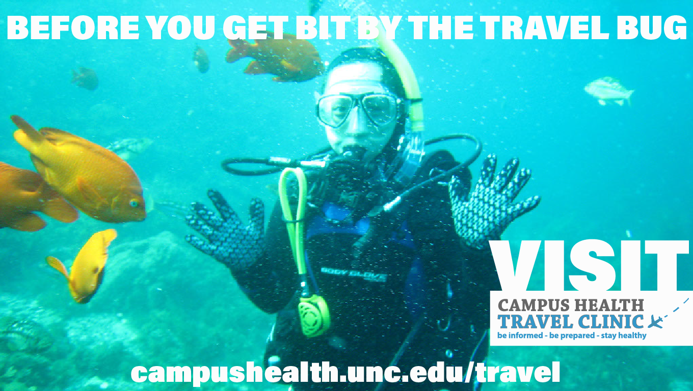 Before you get bit by the travel bug, visit Campus Health Travel Clinic.