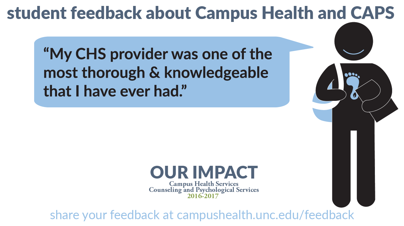 Student feedback: My CHS provider was one of the most thorough & knowledgeable that I have ever had.