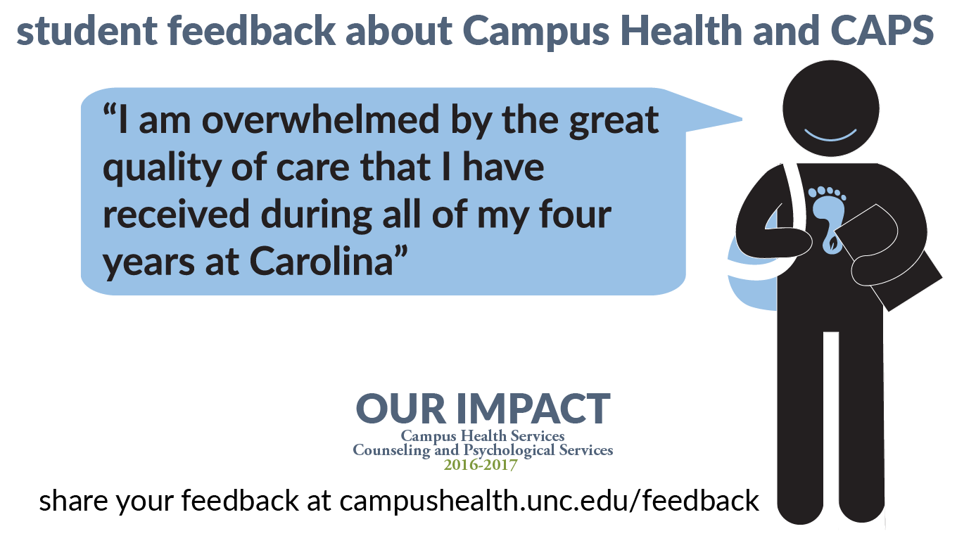 """Student feedback: """"I am overwhelmed by the great quality of care that I have received during my four years at Carolina."""""""