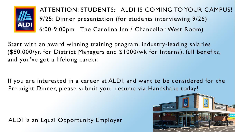Aldi Pre-Night Dinner | Digital Signage - Student Affairs