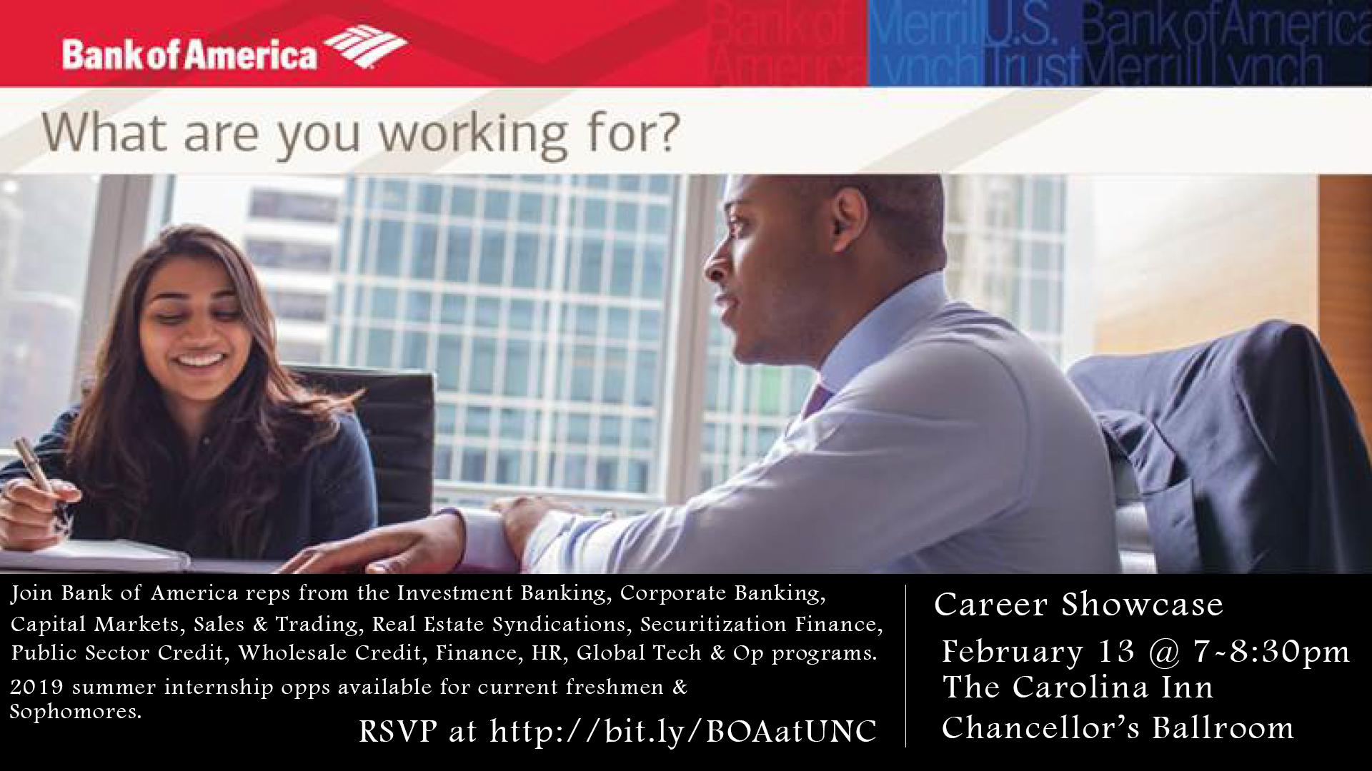 Bank of America Info Session | Digital Signage - Student Affairs