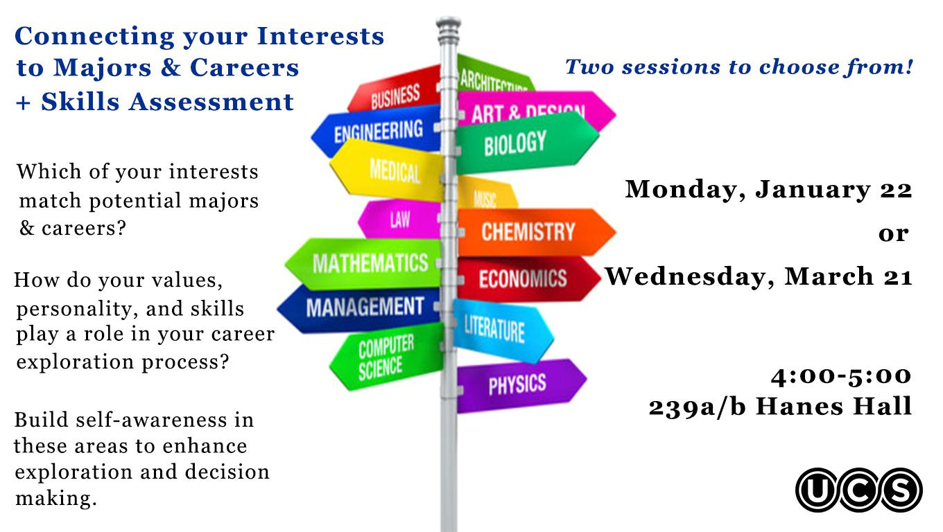 Connecting your Interests to Majors & Careers + Skills Assessment