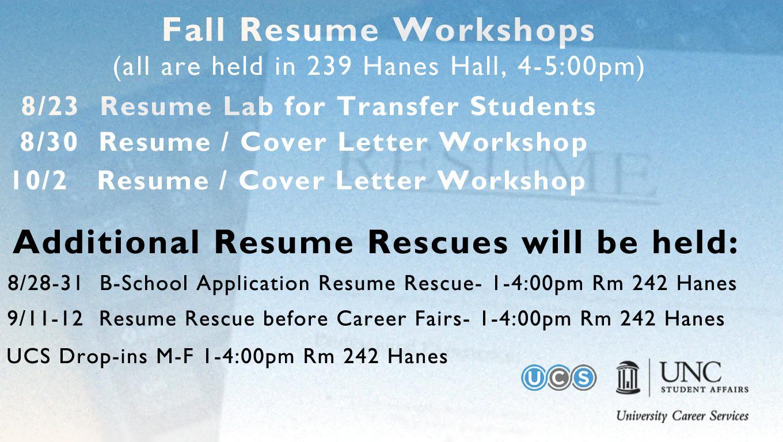 resume workshops fall 2017