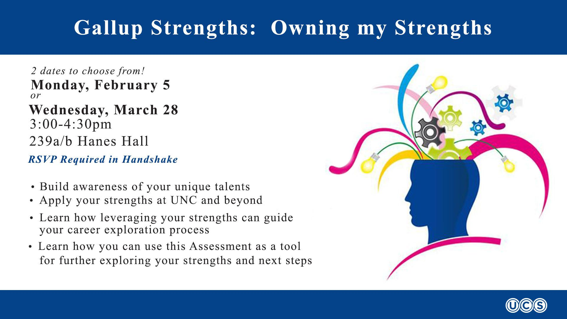 Gallup Strengths- Owning My Strengths- RSVP required in Handshake