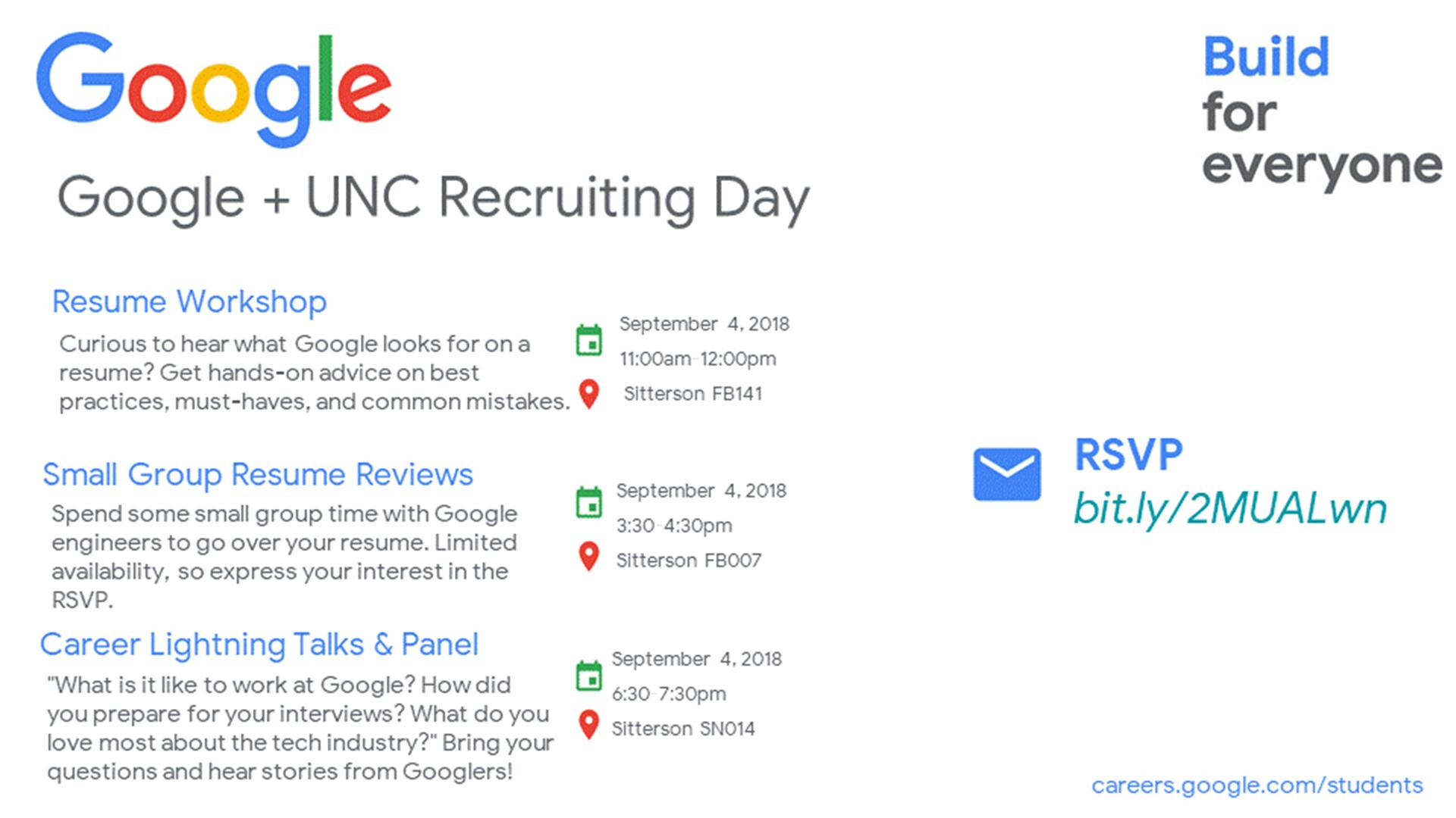 Google Unc Recruiting Day Digital Signage Student Affairs