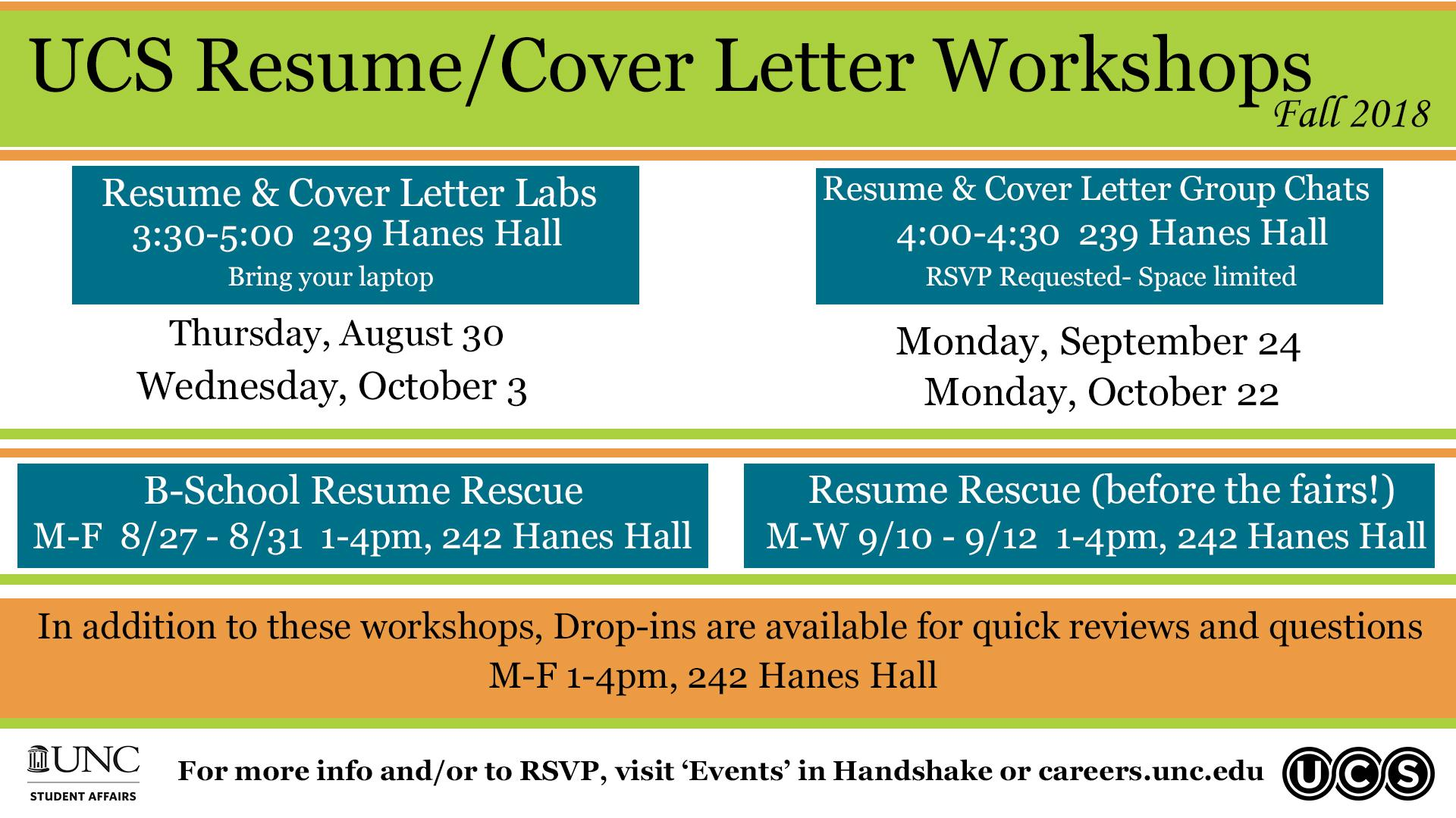 Ucs Resume Cover Letter Workshops Fall 2018 Updated Digital