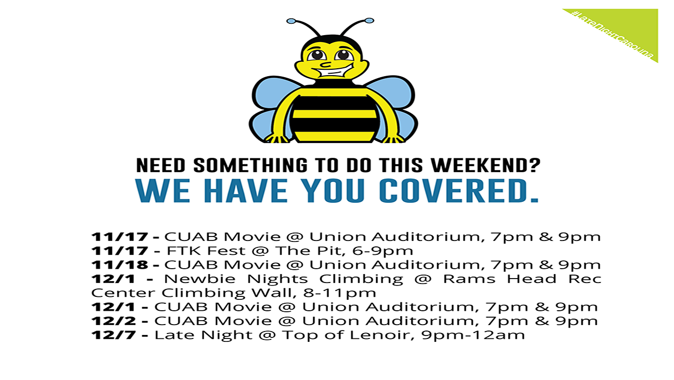 Union Ad: Many Places to Bee Activities for Students to December